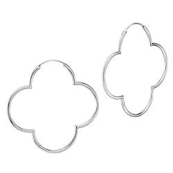 Vinani Paar Creolen, Vinani Creolen Blume glänzend groß Hoop Flower Silber 925 Ohrringe Kreolen 2CBM
