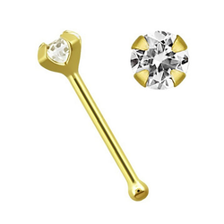 Adelia´s Nasenpiercing Nasenpiercing, Nasenstecker - Nose Bone 14kt Gold mit Zirkonia + Stopper