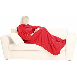 Decke mit Ärmel: Fleece-Kuscheldecke mit Ärmeln, weinrot