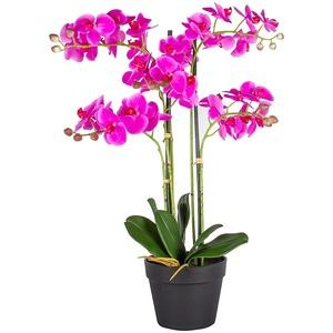 HTT Decorations - künstliche Orchidee - Orchidee - in rosa - 51-100 cm - 5 Zweige - im Topf - Deko - Zimmerpflanze