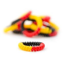 MyBeautyworld24 Spiral-Haargummi Haargummi Telefonkabel elastisch Fanartikel in Deutschlandfarben (Kunststoff-Spirale) Haarschmuck Telefonhaargummi im 10er Set NEU