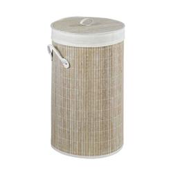 Wenko Wäschetruhe Bamboo Weiß, Wäschekorb, 55l
