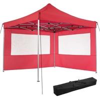 Tectake Faltpavillon 3,00 x 3,00 m inkl. 2 Seitenteile rot