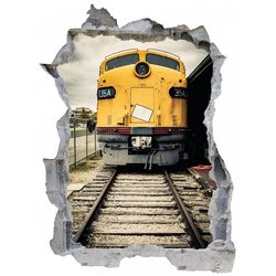 DesFoli Wandtattoo Diesel Lok Eisenbahn E1149 bunt 90 cm x 67 cm
