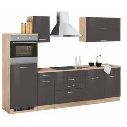 Küchenzeile Graz, mit E-Geräten, Breite 290 cm grau