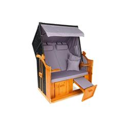 Hoberg Strandkorb Hoberg 2-Sitzer-Strandkorb (Ostsee) grau/braun ohne Rollen, BxTxH: 120x80x160 cm
