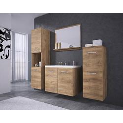 Feldmann-Wohnen Badmöbel-Set MALO, (Set, 5-St., 2 Hängeschränke + 1 Spiegel + 1 Waschbeckenunterschrank + 1 Waschbecken), Farbe wählbar braun
