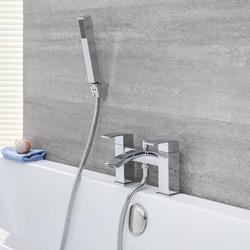 Badewannenarmatur mit Handbrause & Wasserfallausguss - Chrom - Wick, von Hudson Reed