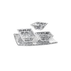 Nachtmann Glas Nachtmann Bossa Nova Platte und Dipschälchen, Servierset 4-tlg., Kristallglas