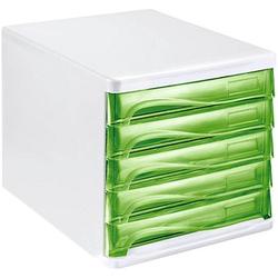 helit Schubladenbox   grün DIN A4 mit 5 Schubladen