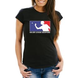 MoonWorks Print-Shirt Damen T-Shirt Major League Beerpong lustiges Trink Shirt Saufen Bier Party Moonworks® mit Print XS