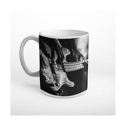 DesFoli Tasse Bass Bassgitarre Musiker Schwarz Weiß T1201, Keramik