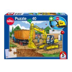 Schmidt Spiele Puzzle Bagger Baustelle mit Siku Bagger, 40 Puzzleteile