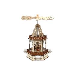 SIGRO Weihnachtspyramide Holz Teelichtpyramide 2 Etagen Eulenwald