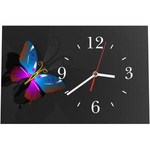 LAUTLOSE Designer Tischuhr Anthrazit Schmetterling Standuhr modern Dekoschild Bild 30 x 20cm