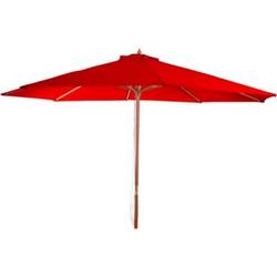 Sonnenschirm Lissabon, Gartenschirm Marktschirm, Ø 3,5m Polyester/Holz 7kg ~ bordeau