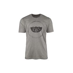 Sinus Art T-Shirt Vintage Herren T-Shirt Kristallschale grau L