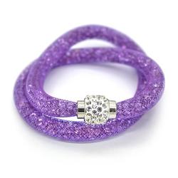 MyBeautyworld24 Wickelarmband Armband aus Netzschlauch zweireihig Glitzerkristallen u. Shamballa Kugel Wickelarmband lila