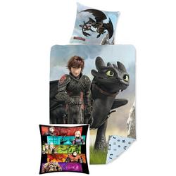 Kinderbettwäsche Dragons - Bettwäsche-Set, 135x200 und Kuschel-Kissen, 40x40 cm, Dragons, 100% Baumwolle