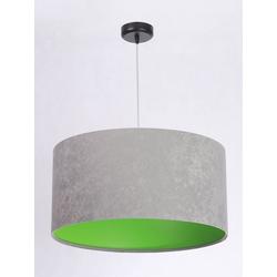 Licht-Erlebnisse Pendelleuchte JERRY Pendelleuchte Esszimmer Grau Grün Stoffschirm Wohnzimmer Hängeleuchte Lampe