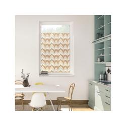Fensterfolie Fensterfolie selbstklebend, Sichtschutz, Boho Zig Zag - Gelb, LICHTBLICK ORIGINAL, blickdicht, glatt 100 cm x 100 cm