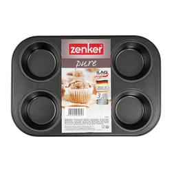 Zenker Muffinplatten Pure Muffinblech für 6 Muffins, Stahlblech