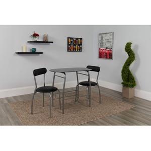 Flash Furniture Küchentisch mit 2 Stühlen – Platzsparendes Küchentisch-Set für zwei Personen – Perfekt als Esstisch, Arbeitstisch und fürs Homeschooling – Schwarz