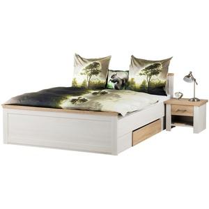 € Basispreis* Bett mit 2 Nachtkommoden 180x200 - weiß - Eiche (Optik) - Landhaus-Stil Lancaster ¦ weiß ¦ Maße (cm): B: 306 H: 91 T: 205