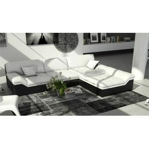 Ledersofa BARARI L Form in weiss schwarz Relaxsofa Design Eckcouch inkl. Kissen