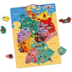 Janod Konturenpuzzle Magnetische Landkarte Deutschland, 79 Puzzleteile