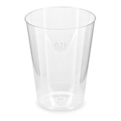 Trinkglas Trinkbecher Plastikbecher glasklar mit Eichstrich bei 200ml, 50 Stk.