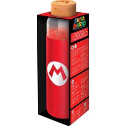 Trinkflasche Super Mario Glasflasche mit Silikon (585 ml)