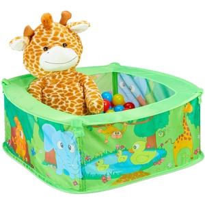Relaxdays Bällebad Baby, Dschungel Ballzelt mit 50 Bällen, quadratisch, Pop-Up, HBT 29 x 80 x 80 cm, Bällchenbad, grün