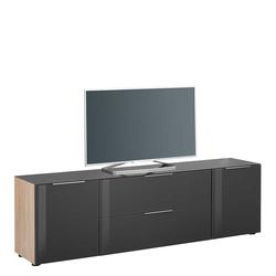 Fernseher Sideboard in Anthrazit und Eiche Sonoma Glas beschichtet