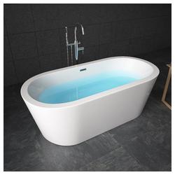 TroniTechnik Badewanne Freistehende Badewanne Piperi, (1-tlg), aus glasfaserversärktem Acryl, mit Überlauf-Ablauf und Push-to-open Abfluss