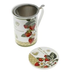 Lashuma Tasse Erdbeere, Porzellan, Teetasse Porzellan 300 ml, Henkelbecher mit Sieb und Untersetzer
