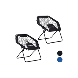 relaxdays Campingstuhl 2 x Bungee Stuhl WEBSTER schwarz-grau