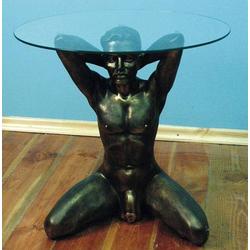 SK-6092 Erotischer Glastisch mit erotischem Mann Tisch mit runder Glasplatte 50cm