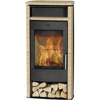 Fireplace Santiago Stahl schwarz/Sandstein