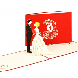 Colognecards Pop-Up Karte Brautpaar rot