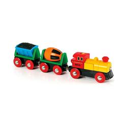 BRIO® Spielzeug-Eisenbahn Zug mit Lok und Anhängern (Batteriebetrieb)