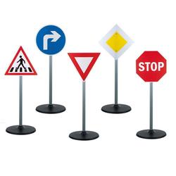 Play Fun Spiel-Verkehrszeichen Verkehrserziehung Kinder Verkehrsschilder 65cm (Schilder-Set, 5-tlg., 5teilig), spielend Verkehrsregeln lernen