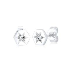 Elli Paar Ohrstecker Stern Hexagon Kristalle Sterling Silber silberfarben