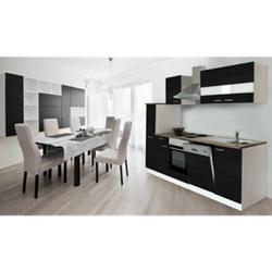 Respekta Küchenzeile KB250WS 250 cm Weiß - Schwarz