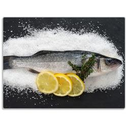 Wallario Schneidbrett Fischmenü - Frischer Fisch auf Salz mit Zitronen, ESG-Glas, 30 x 40 cm