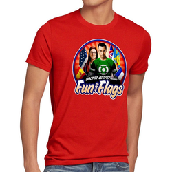 style3 Print-Shirt Herren T-Shirt Fun wih Flags sheldon flagge fahne banner amy rot S