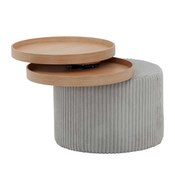 Design Beistelltisch in Hellgrau Corstoff schwenkbaren Tabletts