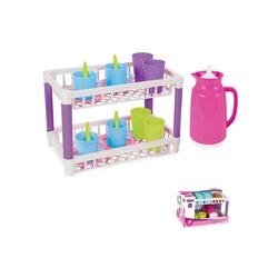 Pilsan Spielgeschirr Spielzeug Küchenregal mit 17-tlg. Spielzeuggeschirr 03336, zwei Ebenen