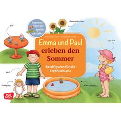 Emma und Paul erleben den Sommer. Spielfiguren für die Erzählschiene.