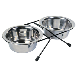 Trixie Eat on Feet Stainless Steel Bowl Set, Durchmesser: 12 cm